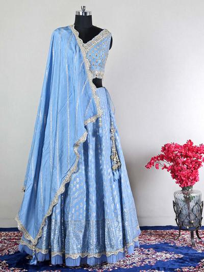 Blue raw silk lehenega for women with mirror work