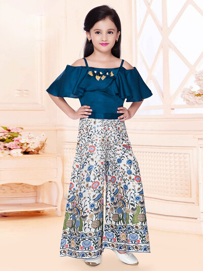 Blue raw silk party wear palazzo suit