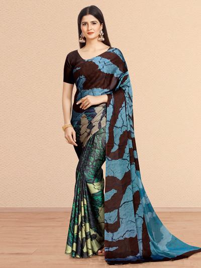 Blue saree in crepe fabric