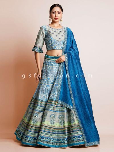 Blue silk printed lehenga for reception