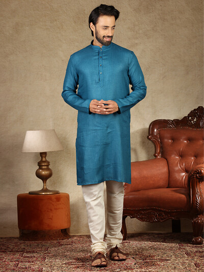 Blue solid cotton kurta in new style