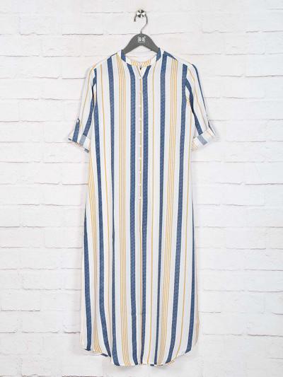 Blue stripe casual wear cotton kurti