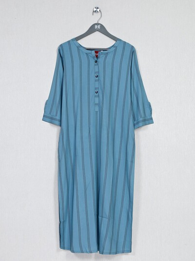Blue striped kurti in cotton