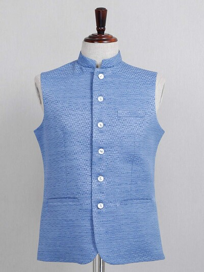 Blue textured cotton silk party wear waistcoat