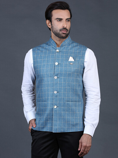 Blue waistcoat in terry rayon with checks