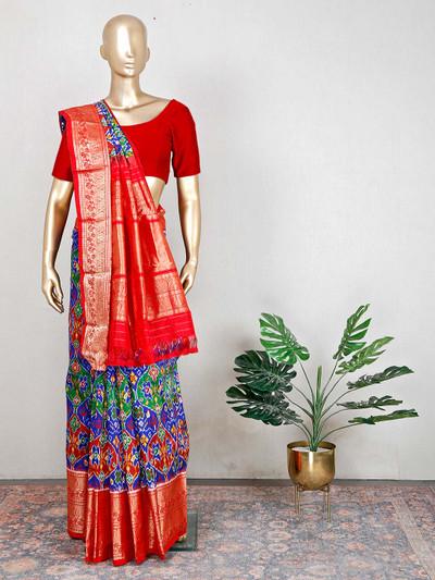 blue wedding and festive wear patola silk