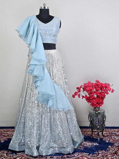 Blue wedding wear raw silk for womens