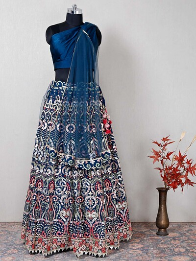 Blue wedding wear silk lehenga with aabla details