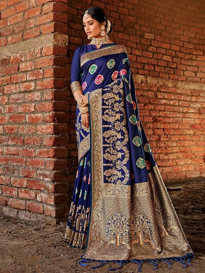 Blue zari and thread work banarasi silk saree for women