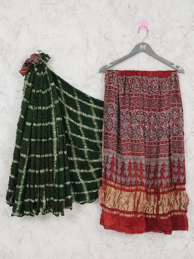 Bottle green ajrakh pullu bandhej saree for festivals