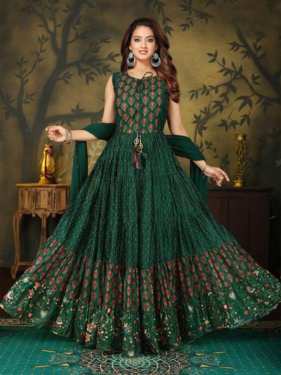 Bottle green cotton silk anarkali suit for festive