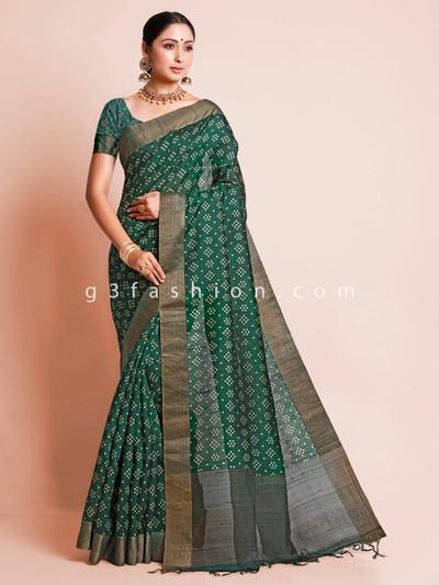 Bottle green festive wear south silk sari