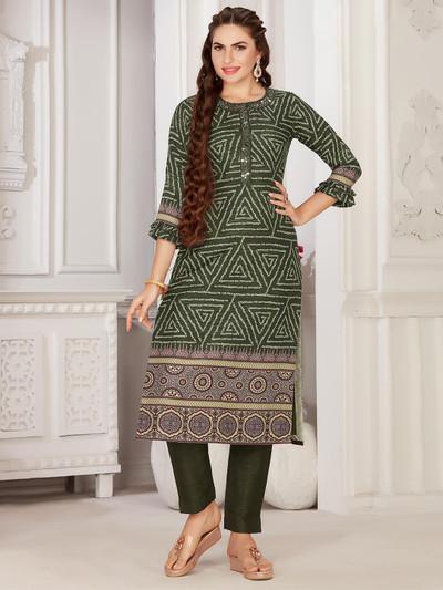 Bottle green latest festive wear cotton kurti