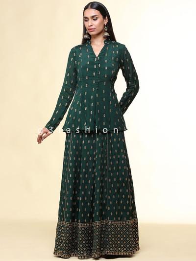 Bottle green lehenga style suit for wedding and festive session