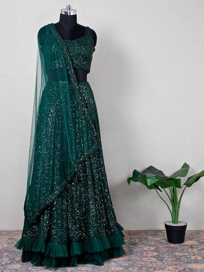 Bottle green net lehenga choli for wedding