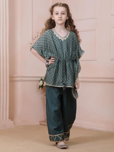 Bottle green punjabi palazzo set for girls in cotton silk