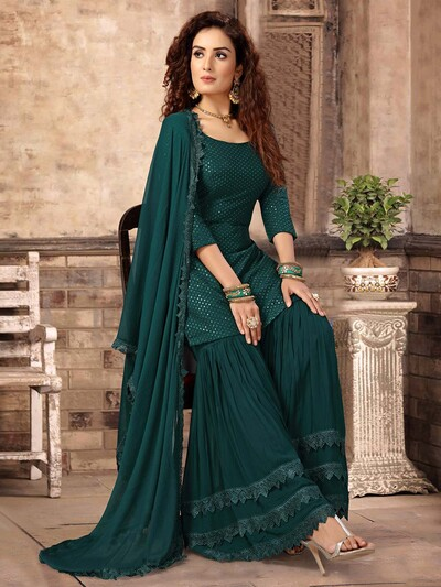 Punjabi green color party wear pakistani designer sharara suit