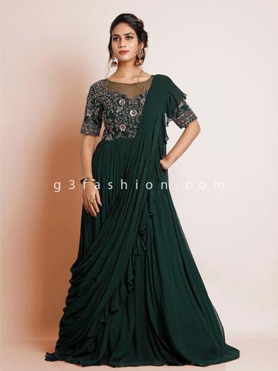 Bottle green wedding gown in georgette for women