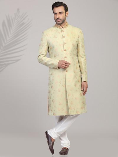 Brocade pista green designer sherwani
