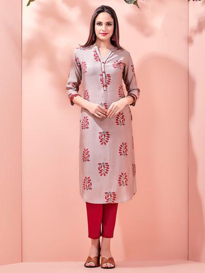 Brown collar neck printed kurti for festive