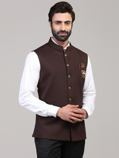 Brown knitted party wear waistcoat
