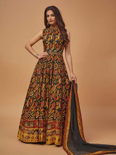Brown printed cotton silk floor length suit