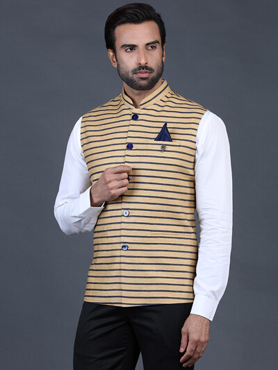 Brown stripe terry rayon waistcoat for mens