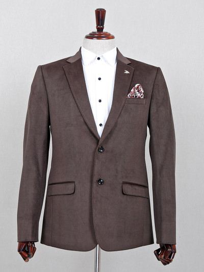 Brown terry rayon solid party blazer