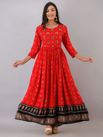 Candy red gorgeous printed casual wear cotton kurti