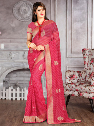 Captivating pink printed georgette saree for festive wear
