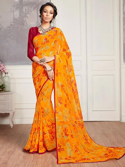 Captivating yellow printed georgette saree for festive wear