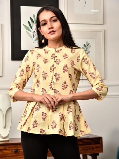 Casual wear hue kurti in beautiful yellow