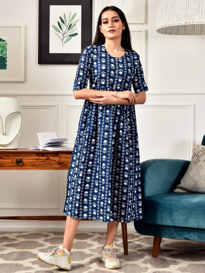 Casual wear printed kurti for women in navy hue