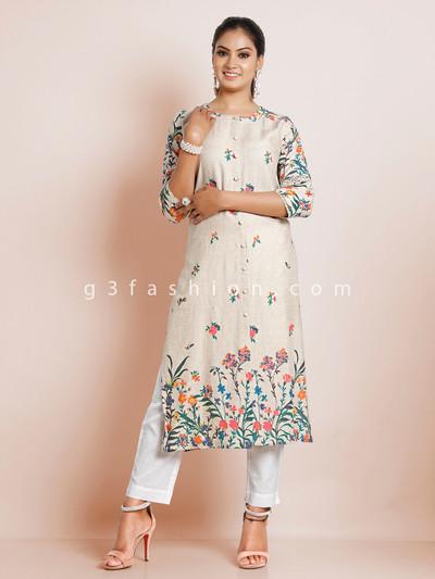 Causal wear beige printed kurti in cotton