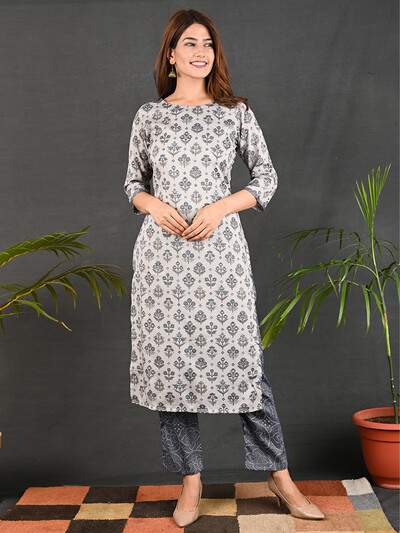 Causal wear grey cotton printed pant suit