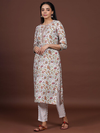Causal wear printed cream cotton palazzo suit