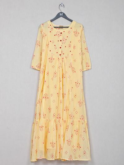 Causal wear yellow cotton kurti