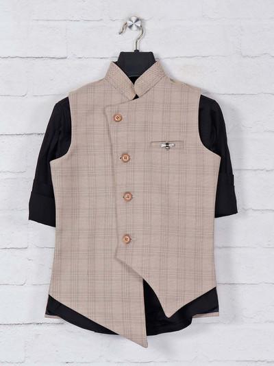 Checks khaki cotton waistcoat set