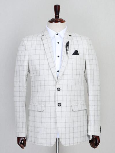 Checks pattern cream jute blazer for mens