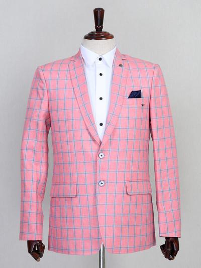 Checks pink party occasion jute blazer
