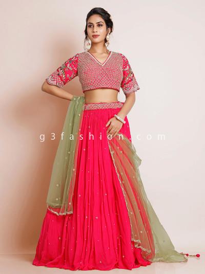 Chiffon pink wedding wear lehenga choli