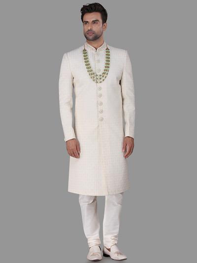 Chikan thread work cream silk sherwani for wedding