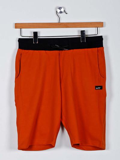 Chopstick orange solid shorts in cotton