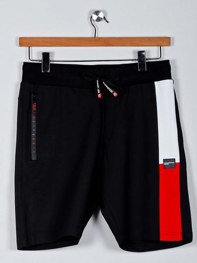 Chopstick solid black cotton shorts