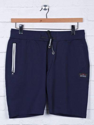 Chopstick solid navy slim fit shorts