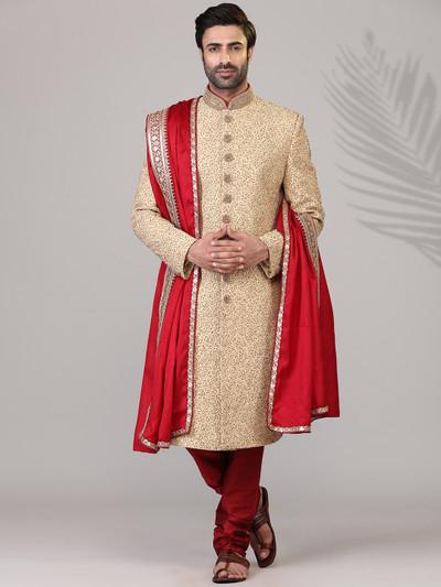 Classic beige silk sherwani set
