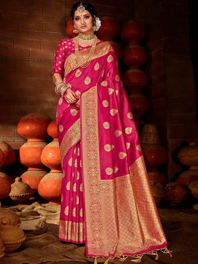 Classic magenta colored banarasi silk saree