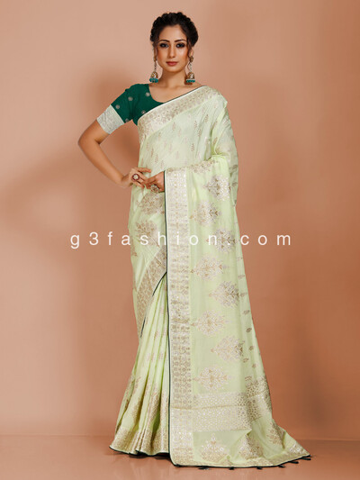 Classic pista green dola silk saree
