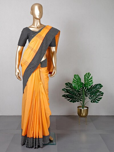 Classic yellow thread weaving cotton saree