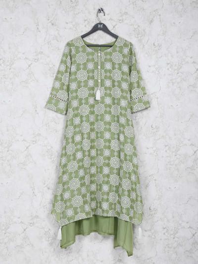 Classy green kurti in cotton silk